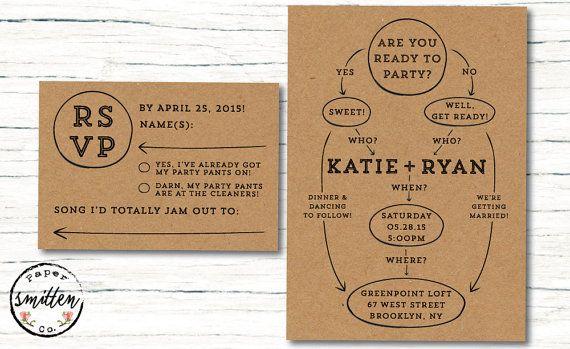 Fun PRINTABLE Wedding Invitation Suite// Wedding Invitation and RSVP Card // Funny Wedding Invite and RSVP