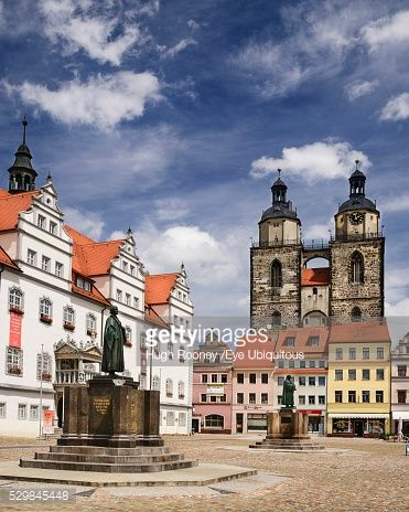 Germany, Saxony Anhalt, Lutherstadt Wittenberg, Marktplatz with... #lutherstadtwittenberg: Germany, Saxony Anhalt,… #lutherstadtwittenberg