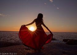 Zachód, Słońca, Plaża, Morze, Kobieta