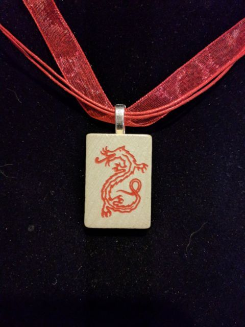 Mahjong red dragon necklace Pendant Vintage Wood Game Tile organza gift bag | eBay