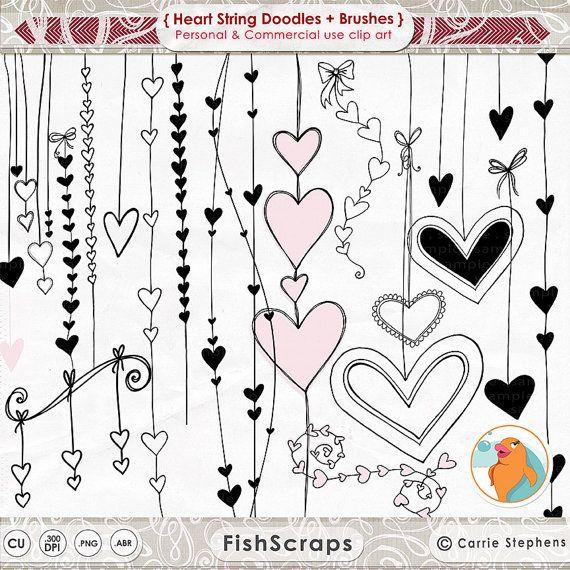 Coeur Clip Art timbres numériques de la par FishScraps sur Etsy