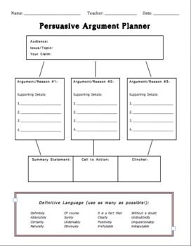 best argumentation and debate images classroom  persuasive argument planner