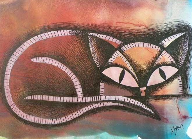 FELINO tempera y tinta. Conéctate con tus emociones y sentimientos a través del arte. | Connect with your emotions and feelings through art. #dibujo #arte #art #gato #cat #kitten