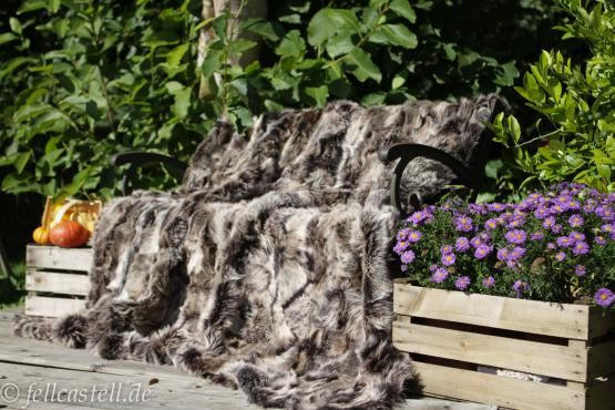 Felldecke | Pelzdecke | Lammfelldecke - graubraun snow top 200 x 155 cm | Leder