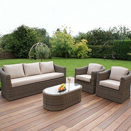 dorset rattan garden furniture 3 seat sofa set