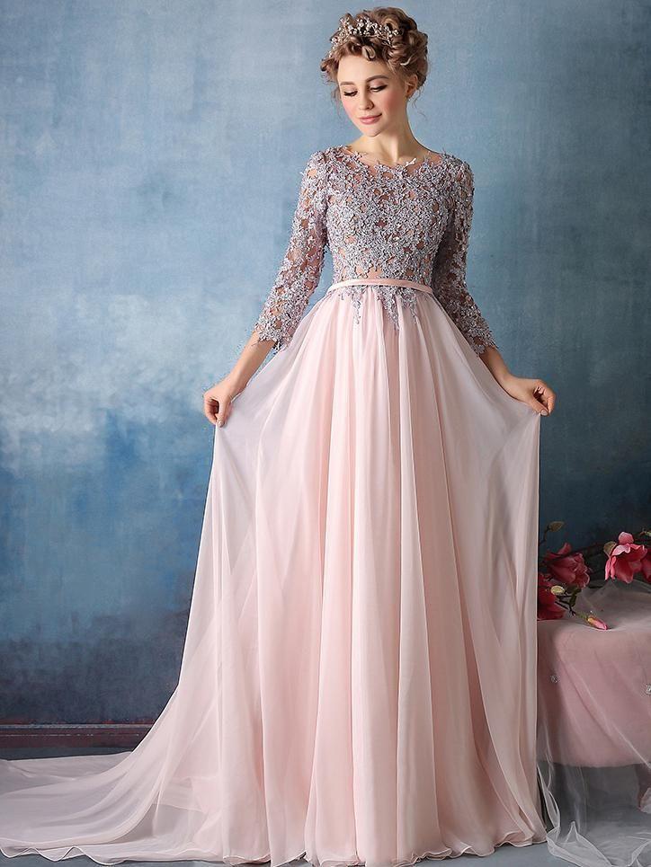 Long Cute Prom Dresses Scoop Chiffon Prom Dresses,PD4558984  #dresses #promdresses #fashion #shopping #eveningdresses #prom