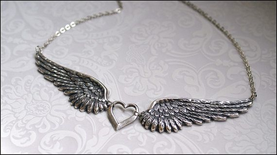 *¨¨* ♥ Angel Wing Necklace, Silver Wing Pendant Necklace ♥ *¨¨* This beautiful necklace features two large angel wing pendants. The wing
