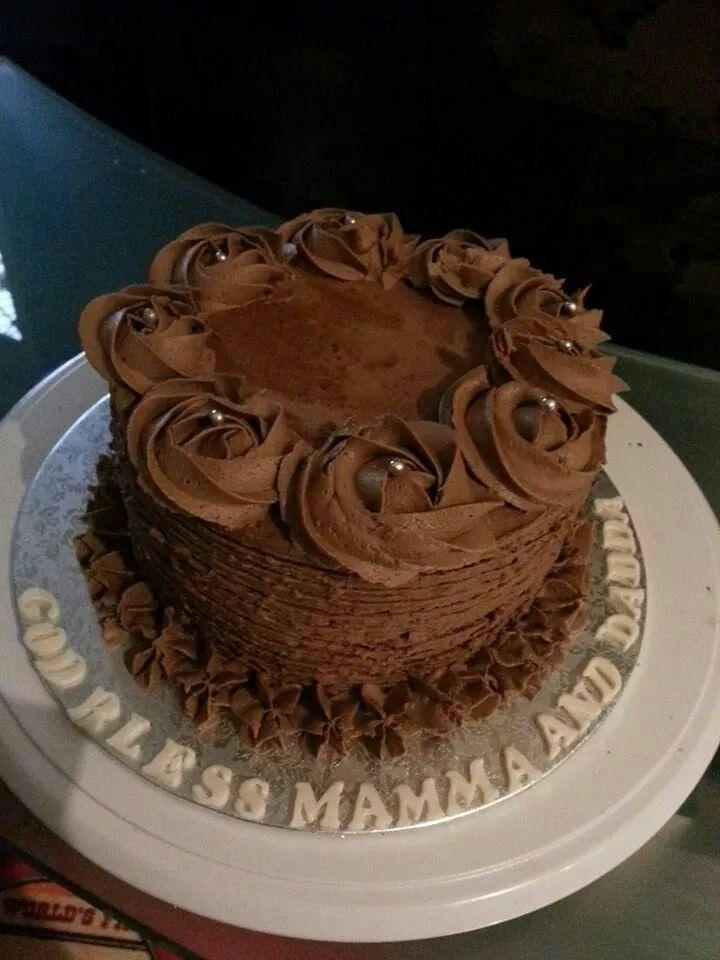 A very chocolaty chocolate cake