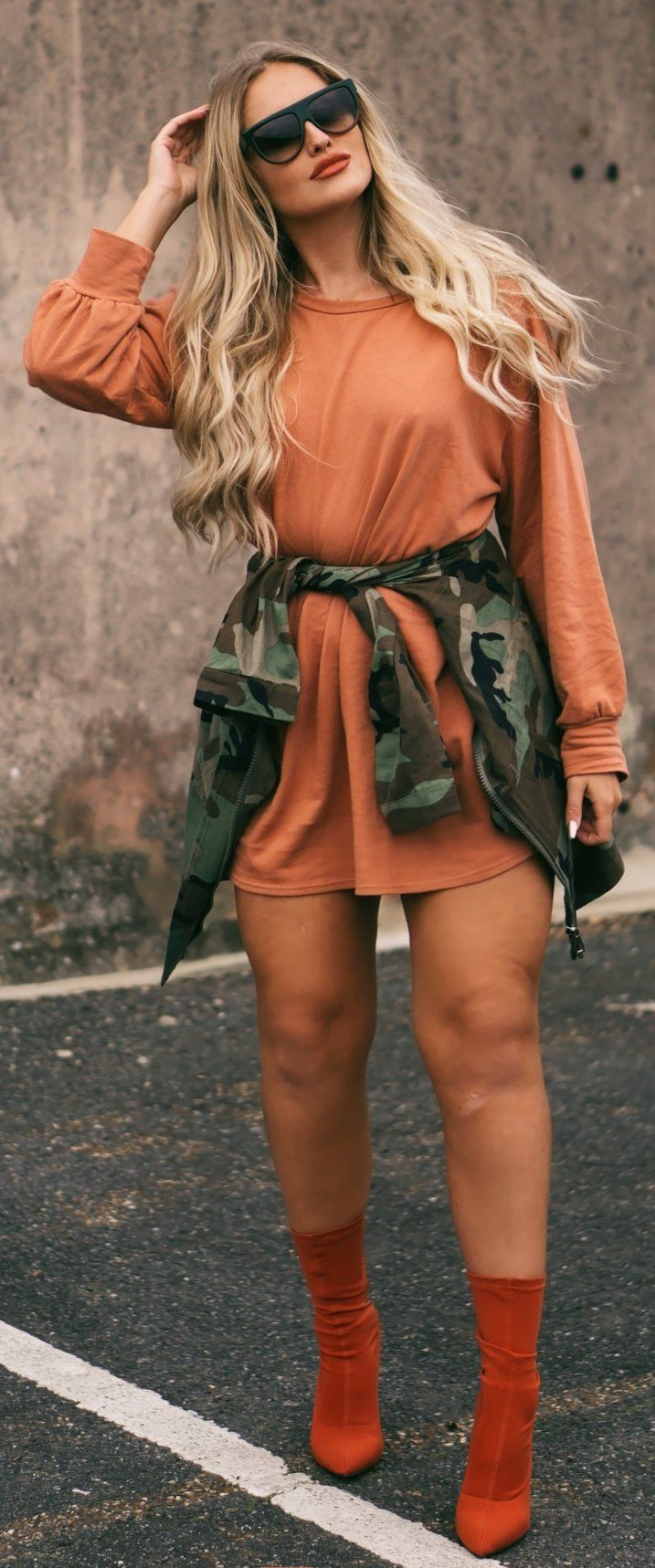 Cute spring outfits /  Orange Knit Dress / Red Velvet Booties