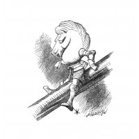 John Tenniel - The White Knight is sliding down the poker.  He balances very badly