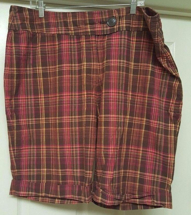 Zoey Beth Woman's Plus Brown/Pink/Yellow Plaid Bermuda Shorts Size 3X #ZoeyBeth #BermudaWalking