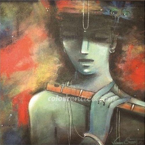 Buy Paintings Online by Artist Samar Basak - Krishna II - CE102745