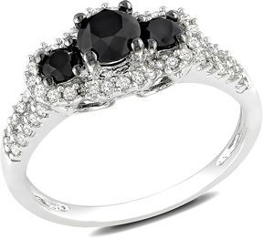 http://www.shopstyle.com: 1 Carat Black & White Diamond 3-Stone 14K White Gold Engagement Ring w/ Black Rhodium