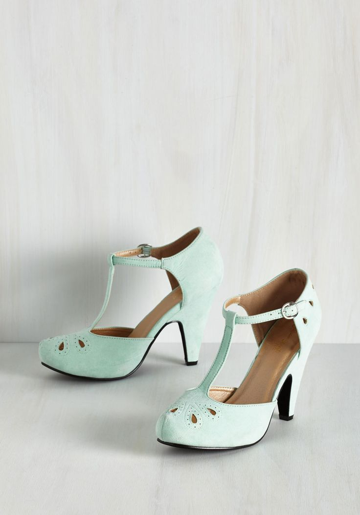 The Zest is History Heel in Mint. Team these playful mint T-straps up with your dynamic dance moves and watch as magic unfolds! #mint #modcloth