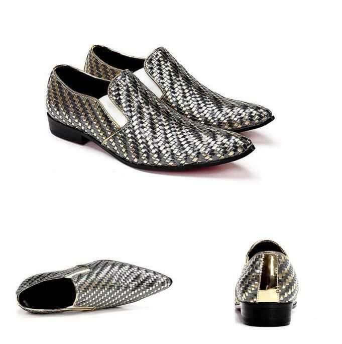 Mens Dress Formal Lace Up Brogue Oxford Snake Skin Fashion Nightclub Shiny Shoes
