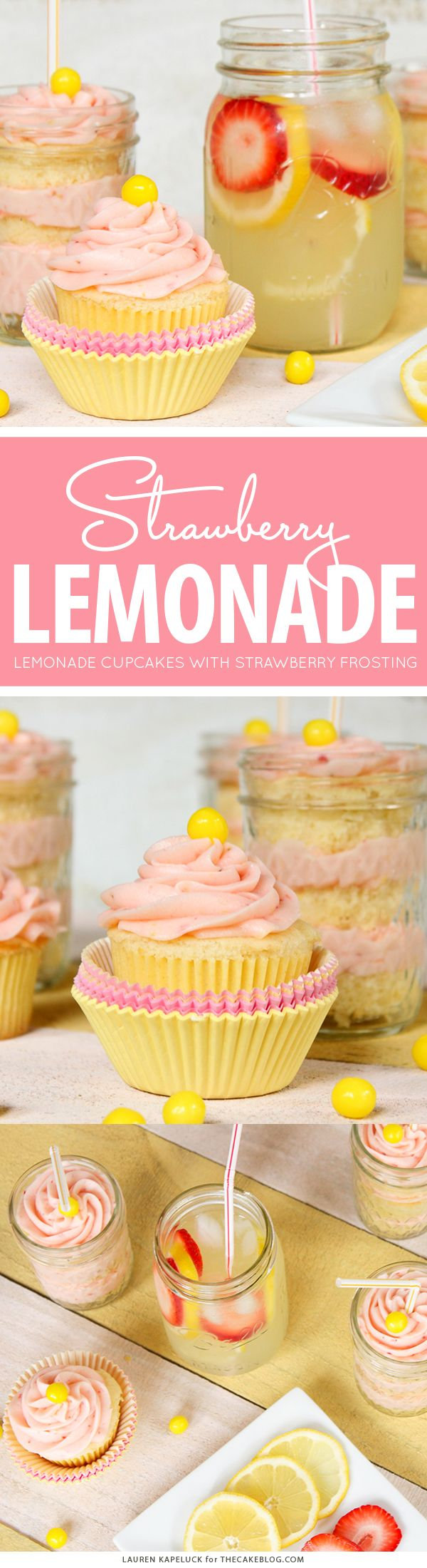 Strawberry Lemonade Cupcakes - moist lemon cupcakes paired with fresh strawberry buttercream for the perfect combination of sour and sweet | by Lauren Kapeluck for TheCakeBlog.com