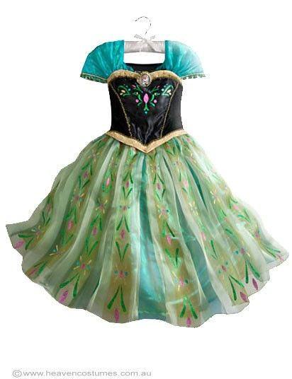 Anna Girls Frozen Coronation Costume - Anna Girls Frozen Coronation Costume  Dress up in Anna's Coronation dress with this girls fancy dress costume. This high quality girls Frozen Anna costume is perfect for your next Disney princess costume party, or as this years Book Week costume idea. Includes:  Dress  Description:   Black satin dress with green satin puff sleeves. The bodice of the dress has embroidery details, gold braid and an attached gold brooch. The dress has ...