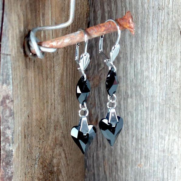 Dangle Jet Swarovski Heart earrings - Surgical Steel Jewelry - french clip by SteelJewelryShop on Etsy