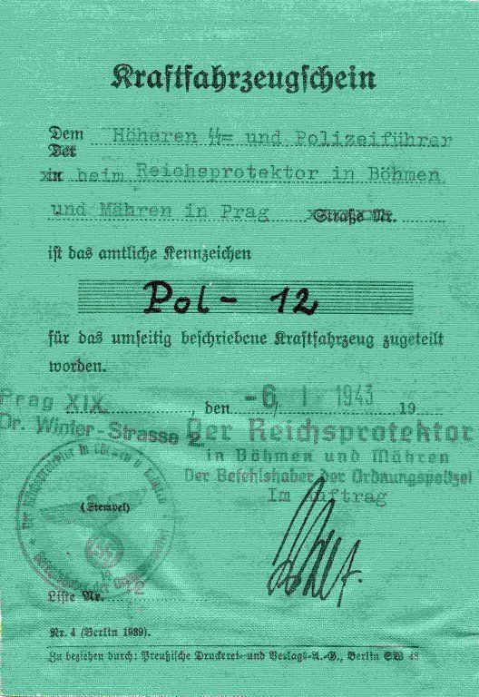 Technical certificate page 1 Mercedes Benz 540 K - K.H.Frank