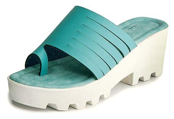 Turquoise Casual Heel Sandal