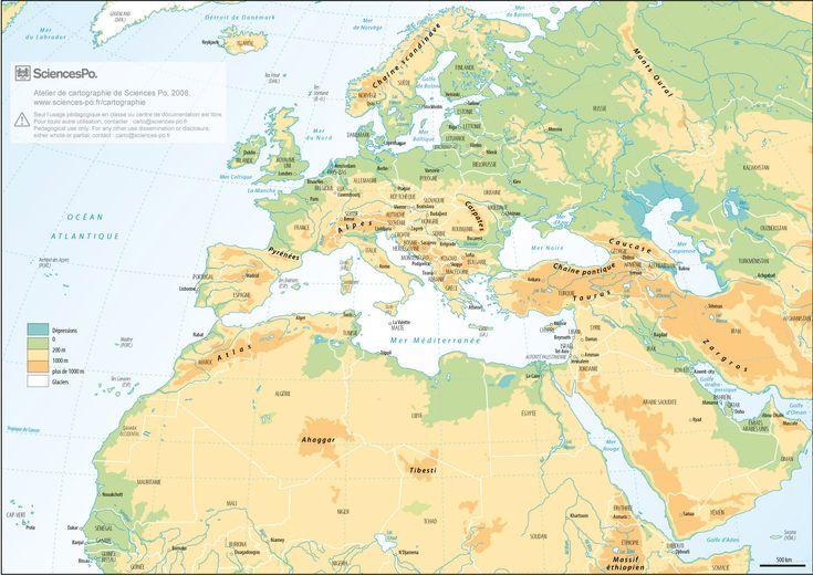 Bassin méditerranéen avec relief, fleuves et frontières des Etats