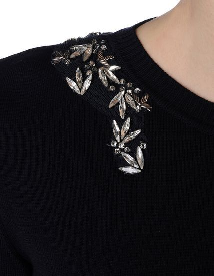 Crystal embellished sweater - fashion design detail; elegant knitwear // Altuzarra
