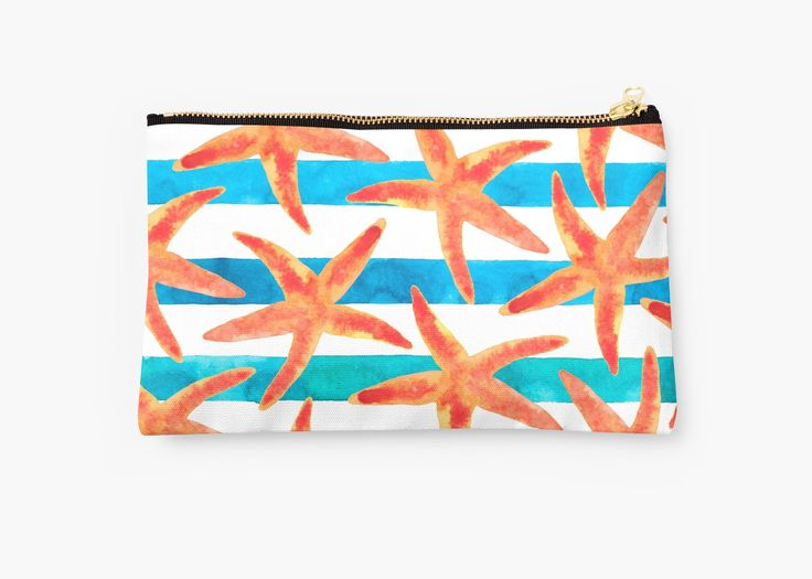 Starfish summer pattern. • Also buy this artwork on bags, apparel, stickers, and more. Starfish watercolor deisgn. Summer inspired. @redbuble #nautical #orange #starfish #ocean #surf #life #redbubble #redbubbleartist #design #watercolor #pouch #purse #bag