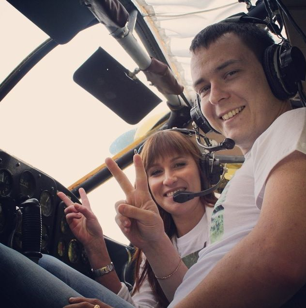 """08/30/2014 love story shot the aircraft PZL-101 Gawron. Newlyweds: """"Good luck, we found an airfield near Moscow, and the company"""" Polet-na- otlichno! """", Which has helped us to organize pre-wedding photo shoot at the planes, we all liked: helpful staff, friendly pilots, nature and airplanes and gliders! We recommend this company to all and a place for flights and shooting! » #Gawron, #LoveInTheAir, #poletnaotlichno"""