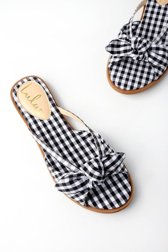 7074fe8e5d31 Pair the Delilah Black Gingham Slide Sandals with a sundress and you are  garden party ready! Chic