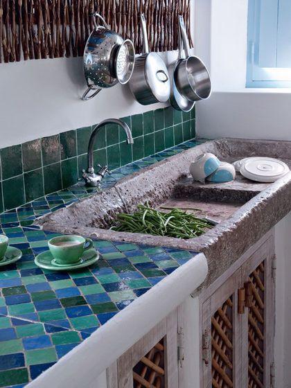 Mosaique bleutée pour la cuisine