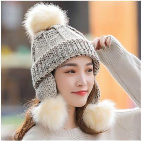 3bea540b Pom pom winter hat with ear flaps for women fleece knit bobble hat ...