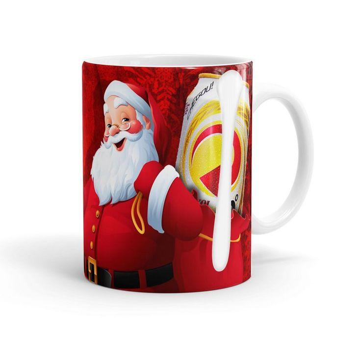 Caneca Porcelana Natal Skol 02 Branca