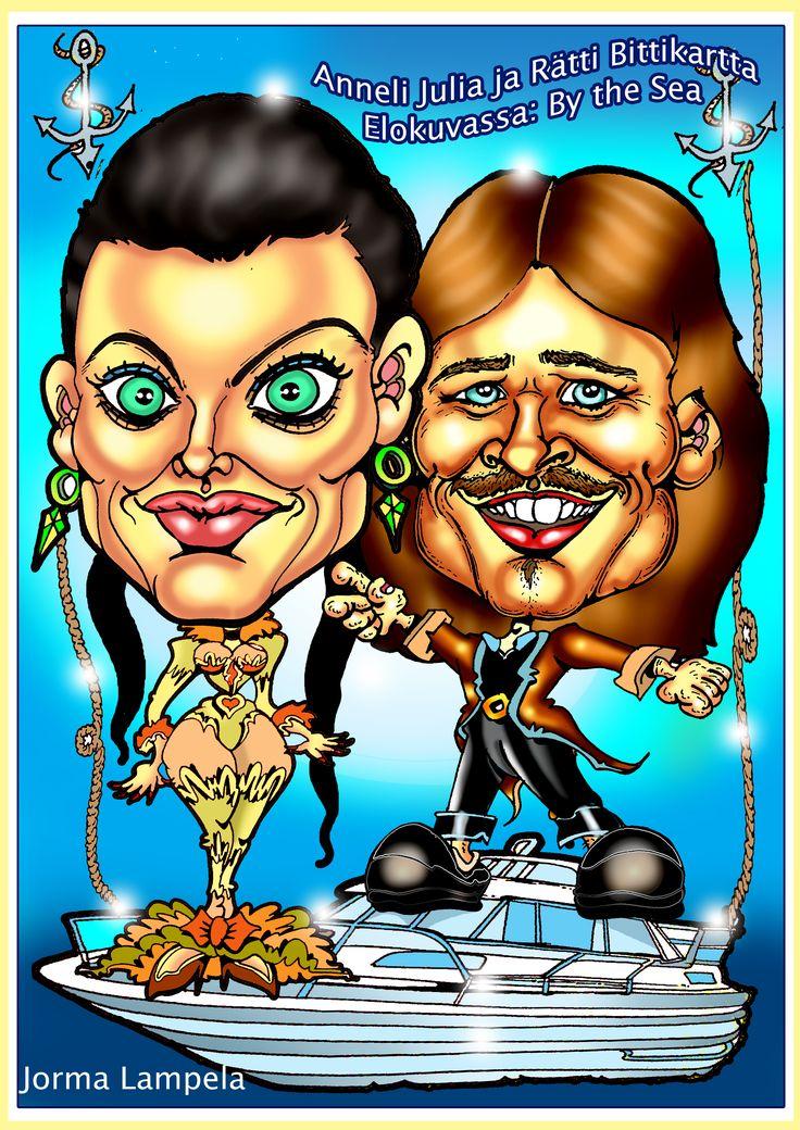 Karikatyyri, Angelina Jolie ja Brat Pitt. Caricature of Angelina Jolie ja Brat Pitt by caricature artist Jorma Lampela