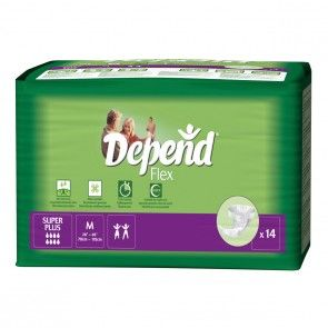 DEPEND FLEX SUPER PLUS MEDIUM UNISEX 1540ml GREEN PKT x 14