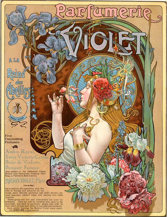 "Vintage perfume advertising poster by Alphonse Mucha entitled ""Parfumerie Violet""."