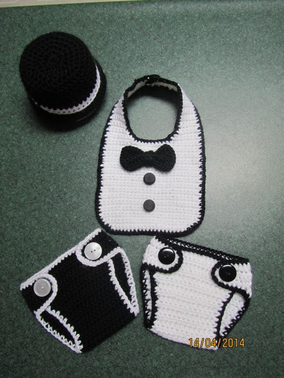 Crochet baby tuxedo outfit.... black bowler hat, bib, and two diaper covers. ❤ June 15 21 ❤