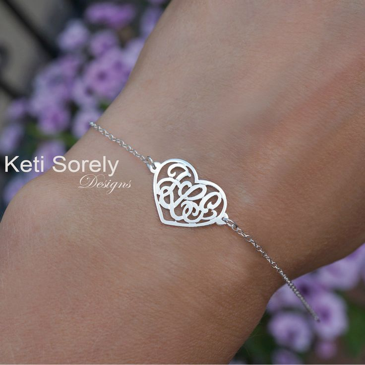 Keti Sorely Designs - Heart Monogram Bracelet With Couples Initials - White, $59.00 (http://www.ketisorelydesigns.com/heart-monogram-bracelet-with-couples-initials-white/)