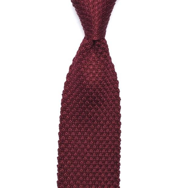 Silk Knit Tie - Burgundy - Knitted Ties - Berg & Berg