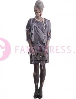 Dit Halloween Zombie Vrouw kostuum bestaat uit:  Een gescheurde grijze rok met een gaas bovenlaag.  Een bijpassende jas.