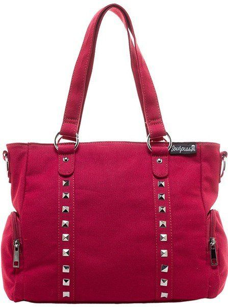 """Buy the """"Leda"""" Canvas Stud Purse by Sourpuss Clothing (Burgundy) atInkedShop.com. We offer coupon codes, deals, and discounts every day!"""