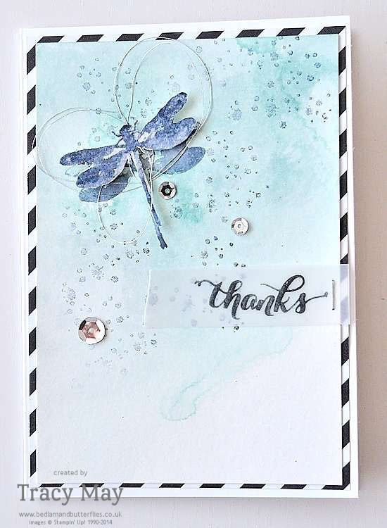 Awesomely Artistic from Stampin' Up! - a fantastic stamp set to use with a watercolour background. Check out my lovely dragonfly card. Tracy May, UK Demo