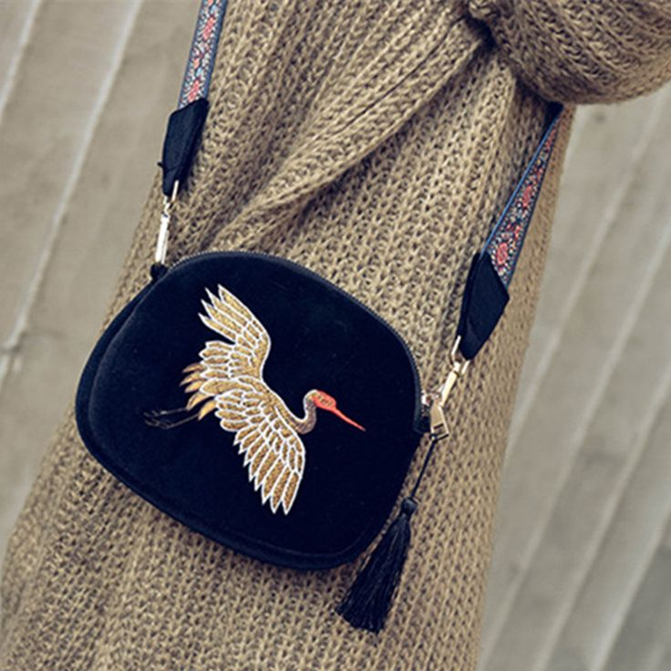 New mini Luxury Handbags Women Bags Designer  velvet Tassel Clutch Bag Hand Embroidery Cranes Retro Wide shoulder Strap Shoulder-in Underwear from Mother & Kids on Aliexpress.com | Alibaba Group