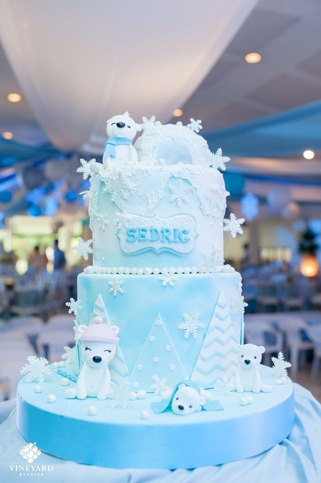 Outstanding Sedrics Snow Bear Wonderland Themed Party Cake Winter Birthday Cards Printable Nowaargucafe Filternl