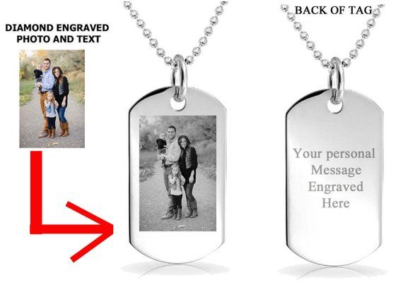 Personalized Photo Dog Tag Necklace With Custom Engraved Message The Perfect Personalized Gift For Her Or Him Personalized Gifts Are Heartfe Engraved Jewelry Engraved Dog Tags Personalized Jewelry