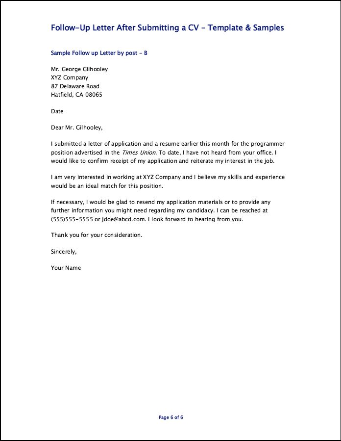 follow up letter after submitting a cv