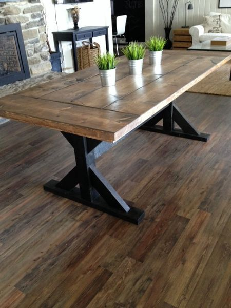 I think a modernized Farmhouse Style Table Would be perfect for the new Dining Room with fancy Chairs and a Bench-Nicki