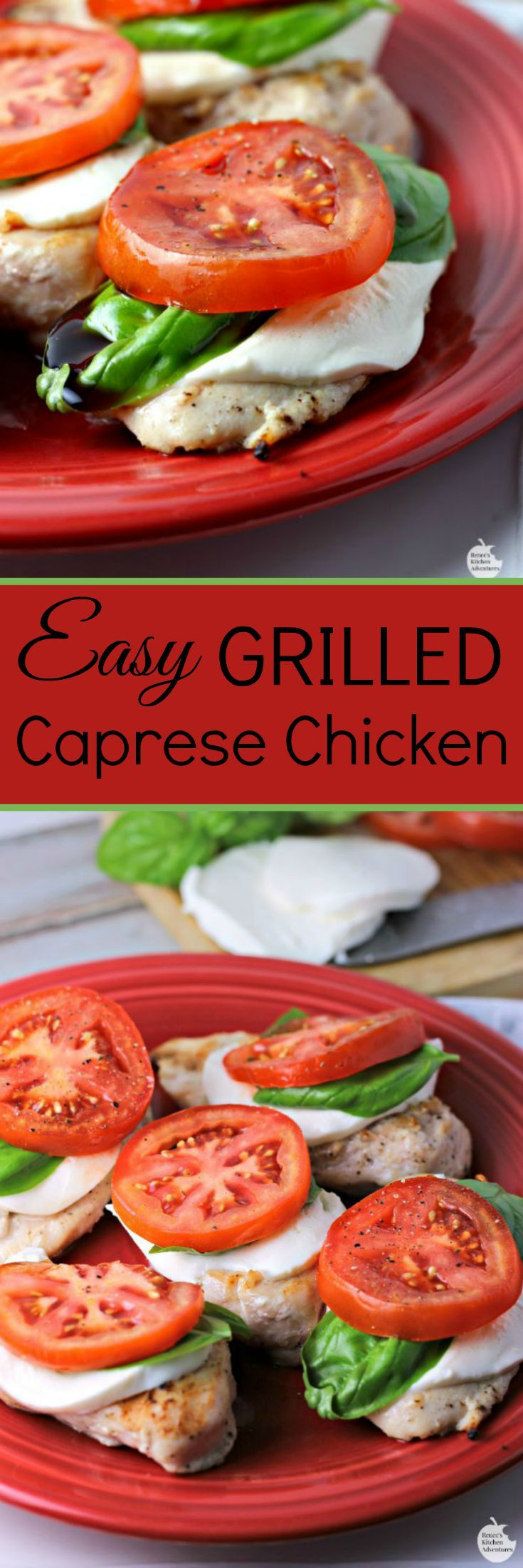 Easy Grilled Caprese Chicken | by Renee's Kitchen Adventures - Easy, healthy recipe for chicken breasts that uses some of summer's fresh harvest, fresh tomatoes, basil and mozzarella cheese! YUM!