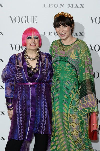Zandra Rhodes Photos Photos - (L-R) Zandra Rhodes and Grace Woodward attend at Vogue 100: A Century Of Style at the National Portrait Gallery on February 9, 2016 in London, England. - Vogue 100: A Century of Style - Red Carpet