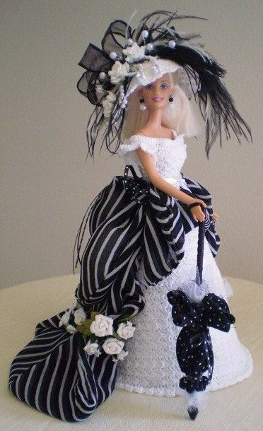 Love, love, love this White & Black Victorian Style Barbie Costume. I want this!