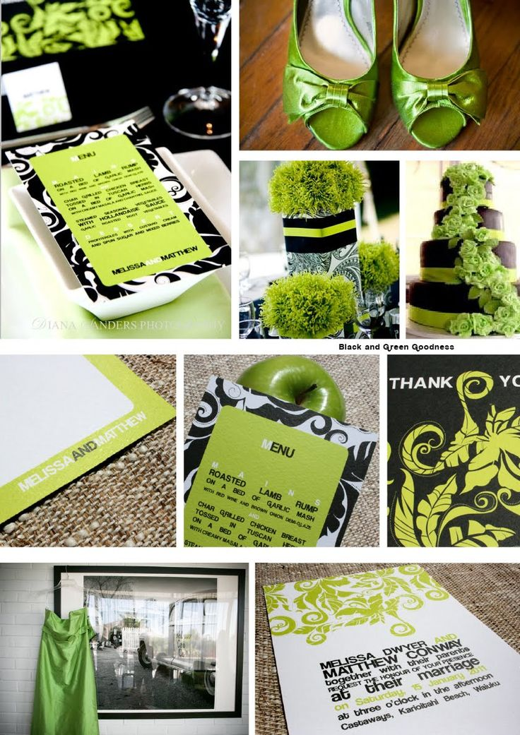 Lime Green And Black And Silver Wedding Theme